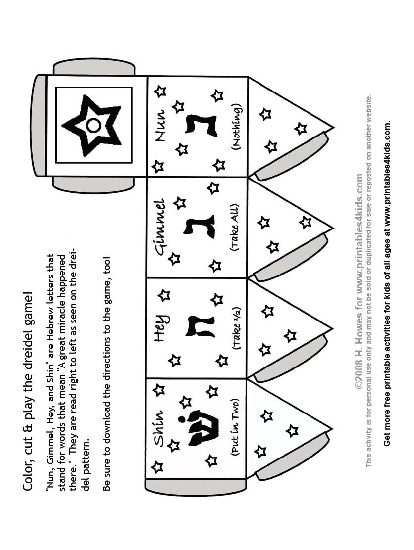 Print and Color Dreidel Game Printables for Kids free word