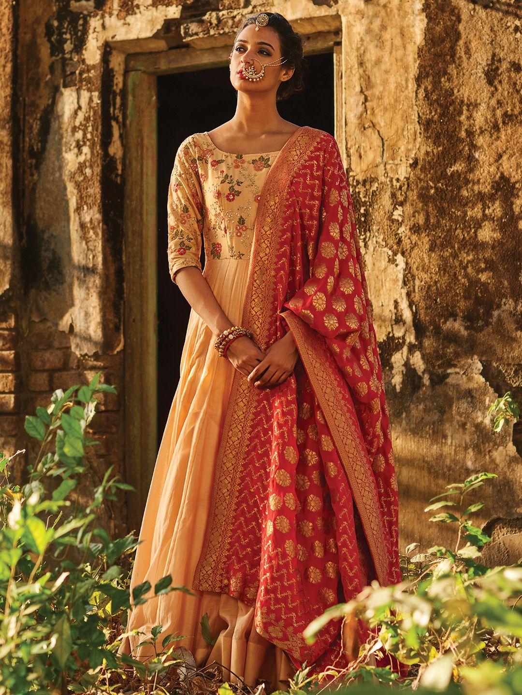 0f99fe405af Hover to zoom Peach Designer Silk Anarkali Suit