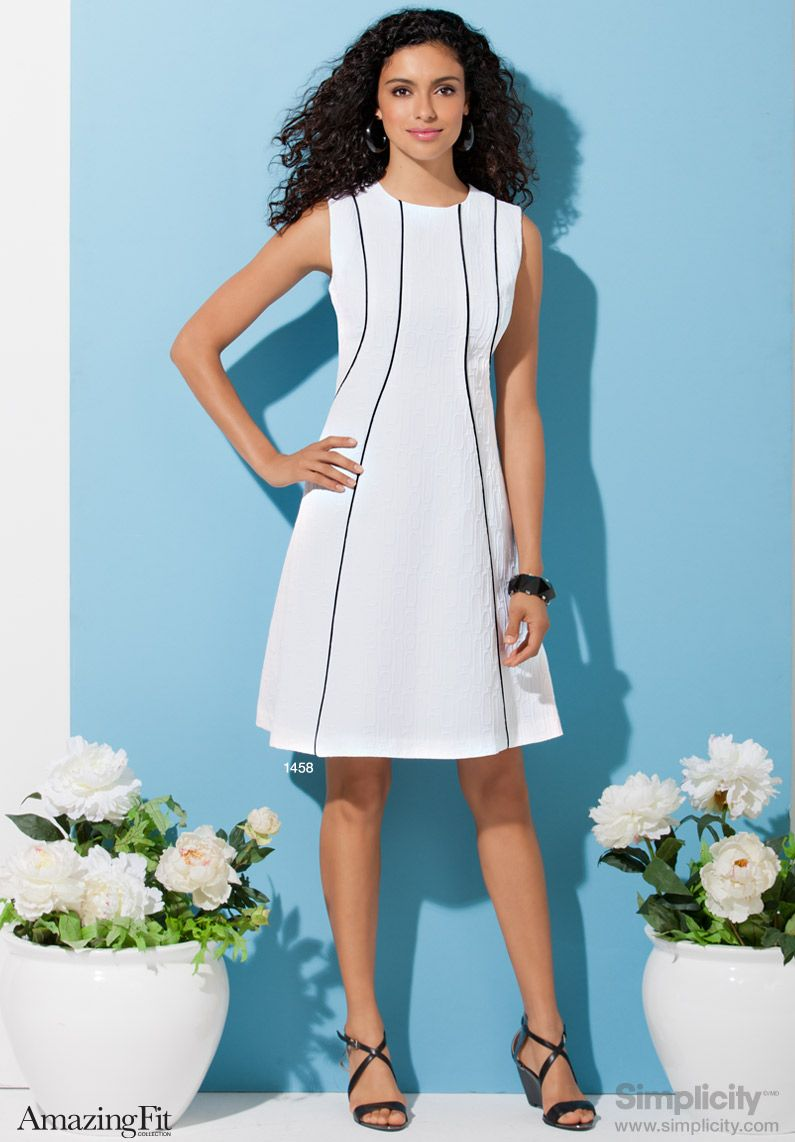 This A-line dress pattern with princess seams will give you that ...