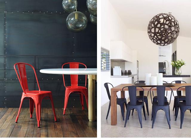 chaise de table A métal rouge noir mat acier Tolix déco style ...