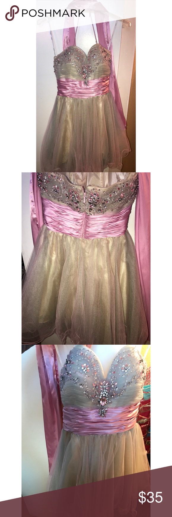 Short pink strapless puffy dress with rimestones in My Posh