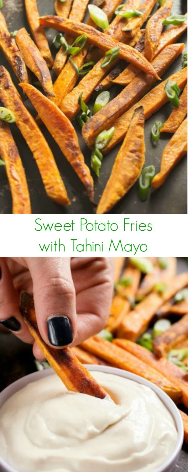 Sweet Potato Fries with Tahini Mayo Recipe - The most addicting side you will ever eat, perfect with any dinner or lunch!