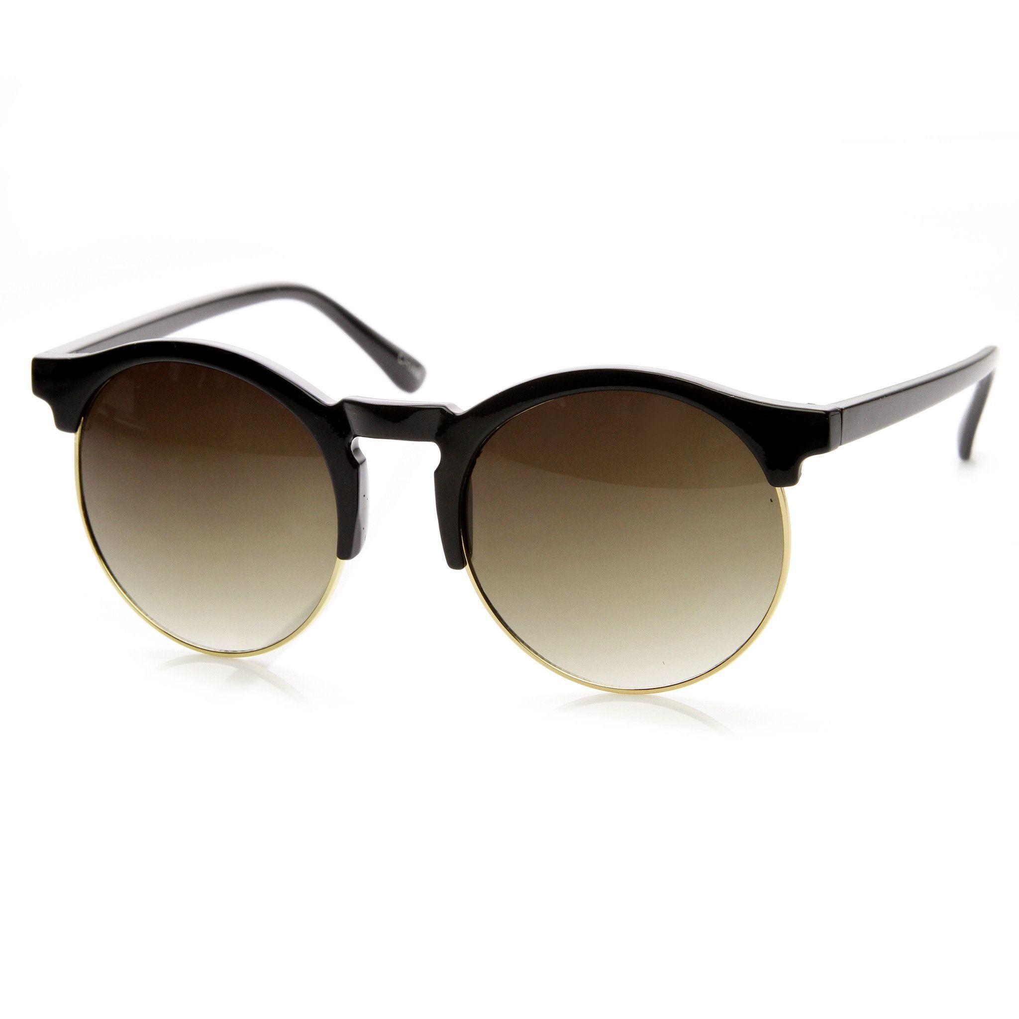 1e2ace6763 Oversize Retro Round Indie Half Frame Sunglasses 9173
