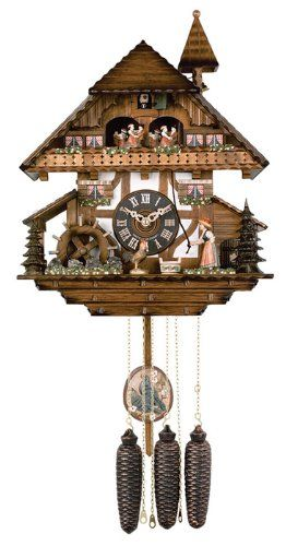 Wall Clocks Decor River City Clocks Md85613 Eight Day Musical Cuckoo Clock With Dancers Woman Rings Bell And Waterwheel Turns 13inch Tal Cuckoo Clock