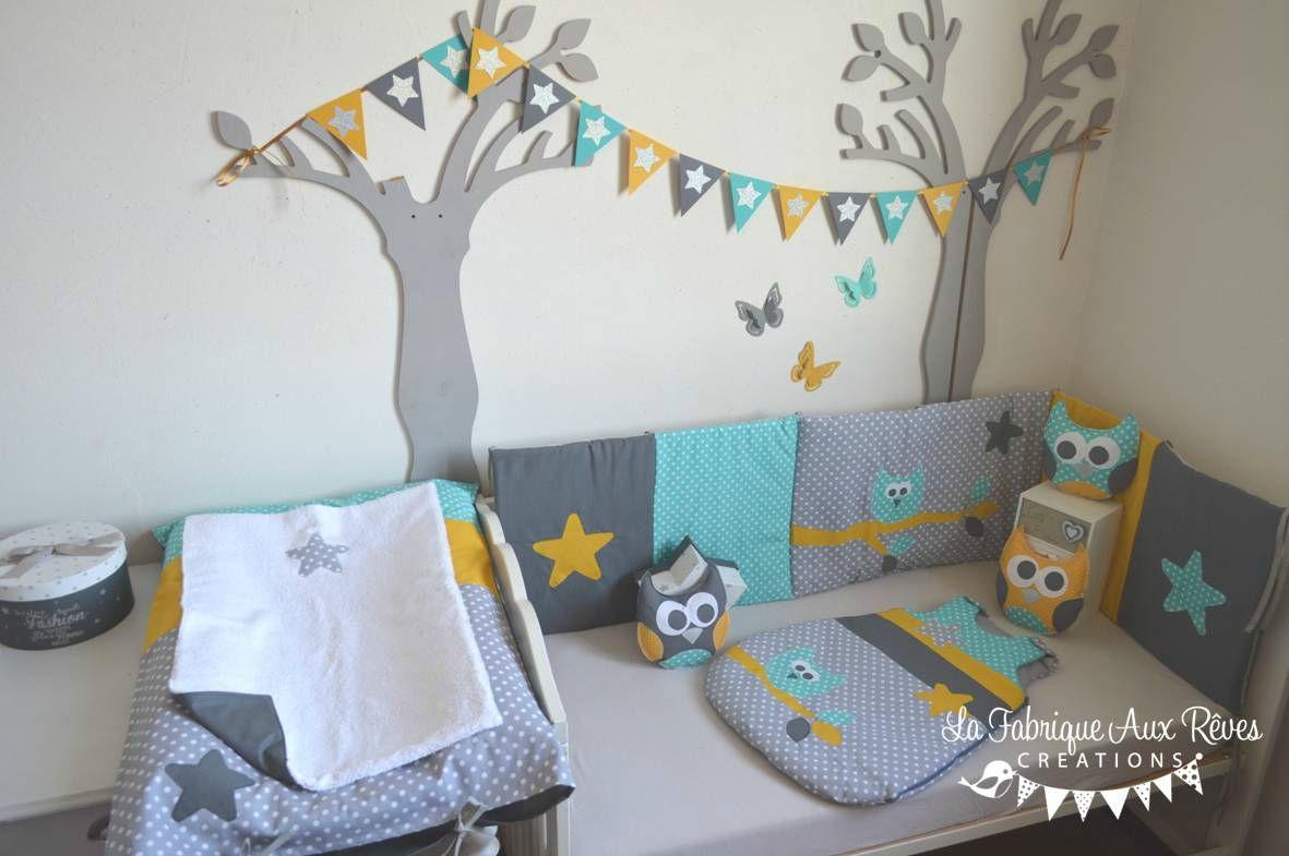 décoration bébé turquoise gris foncé gris clair jaune moutarde