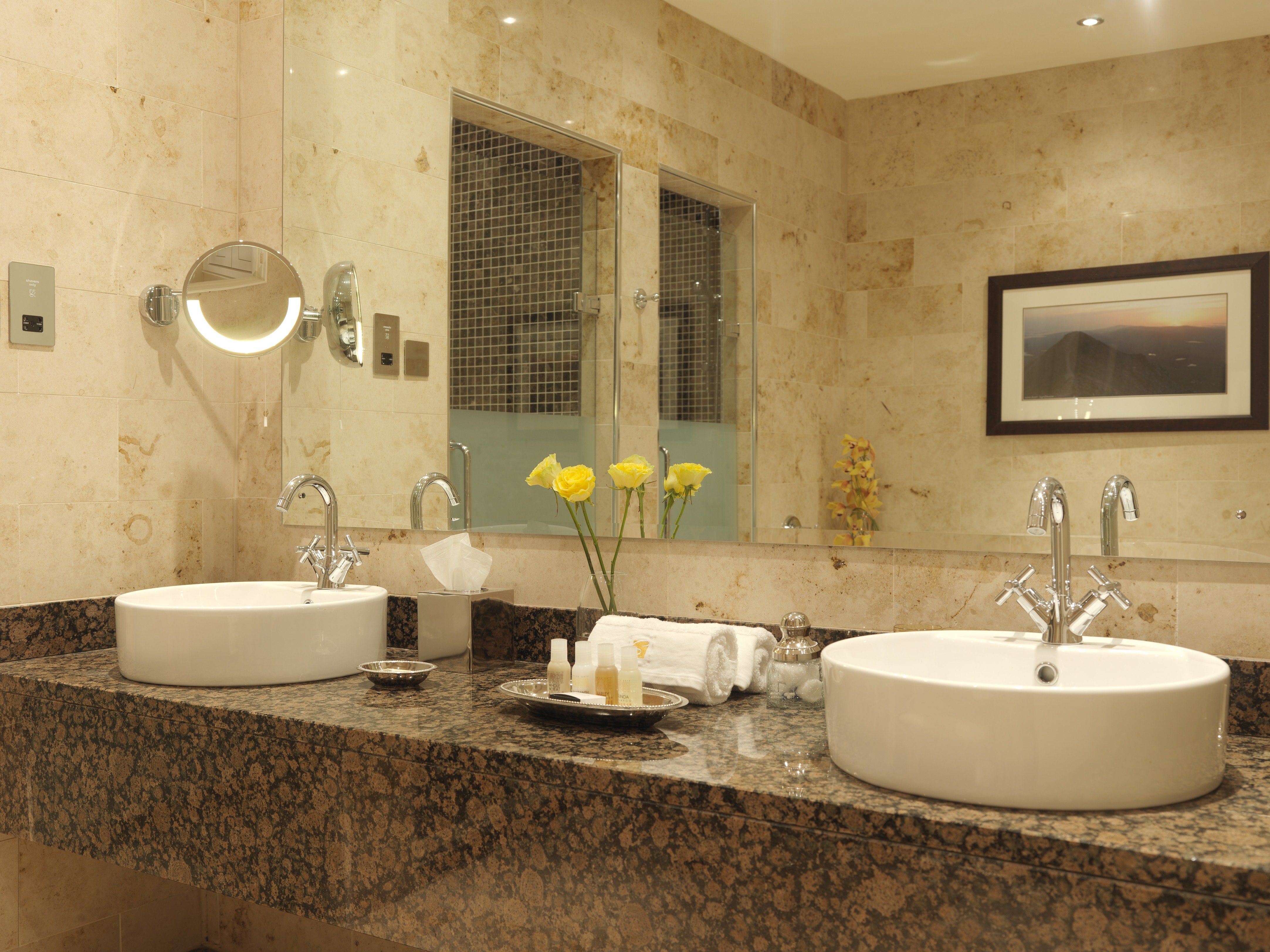 Classy Double White Round Bowl Sink On Brown Granite