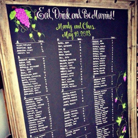 Wedding Chalkboard Seating Chart  by CoastalCalligraphy on Etsy