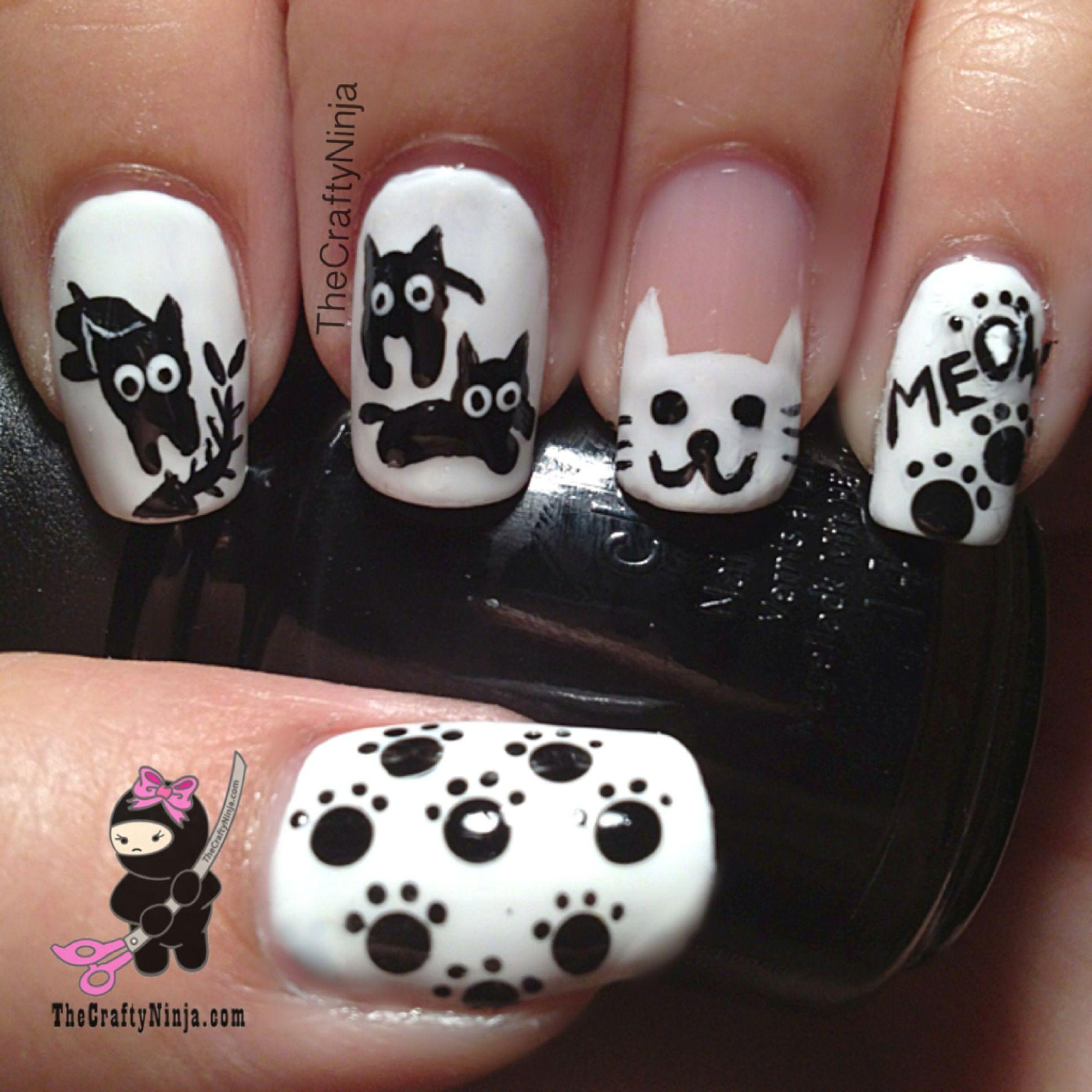 Kitty Cat Nails tutorial | TheCraftyNinja.com Nail Art | Pinterest ...