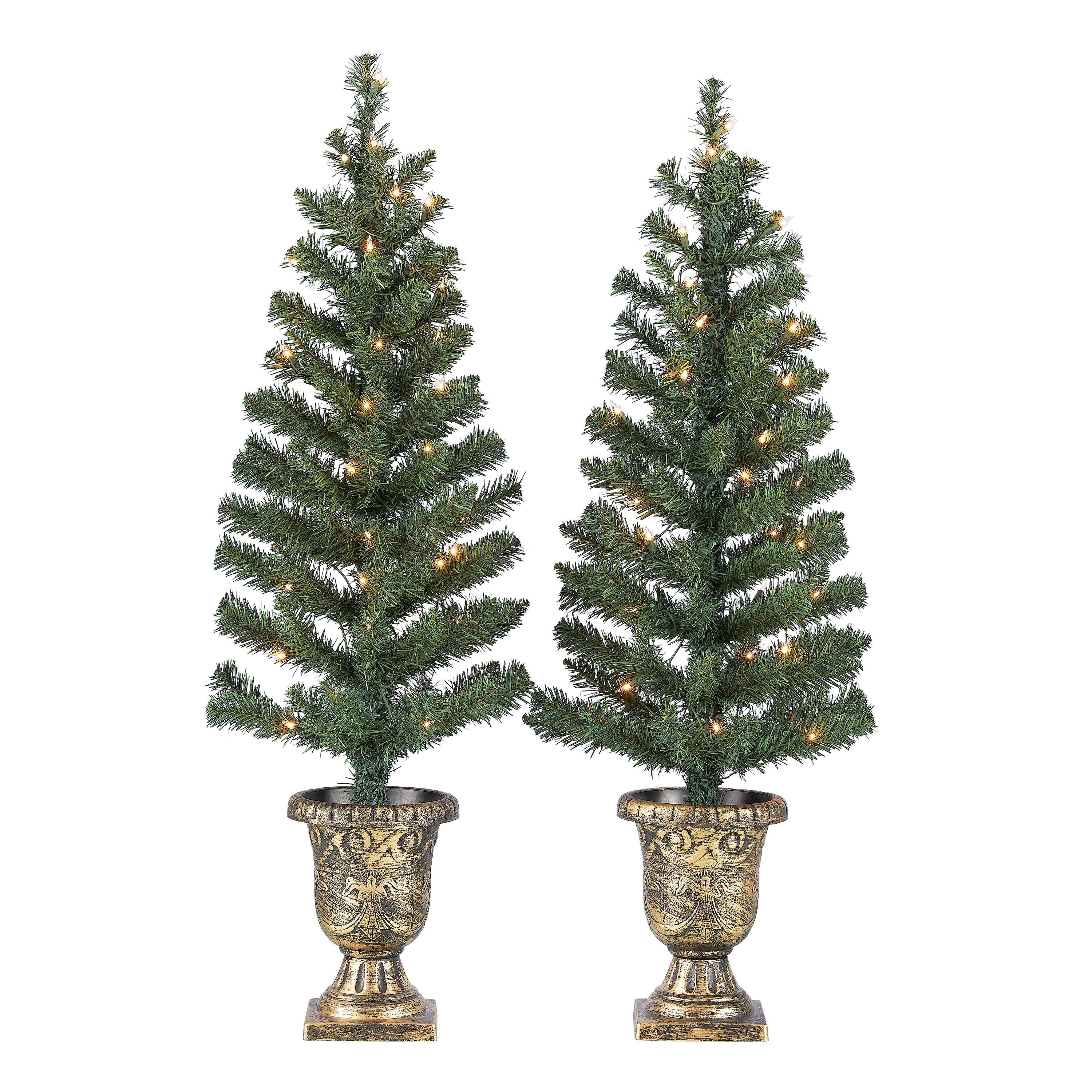 4 Ft Pre Lit Entryway Trees Set Of 2 Outdoor Christmas Tree Porch Christmas Tree Christmas Tree Set