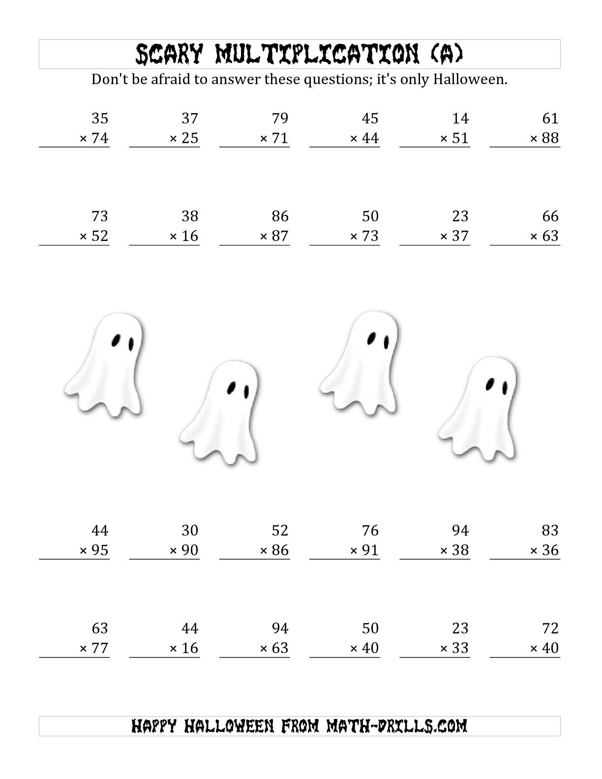 The Scary Multiplication (2-Digit by 2-Digit) (A) math worksheet from t…    Halloween math worksheets [ 1584 x 1224 Pixel ]