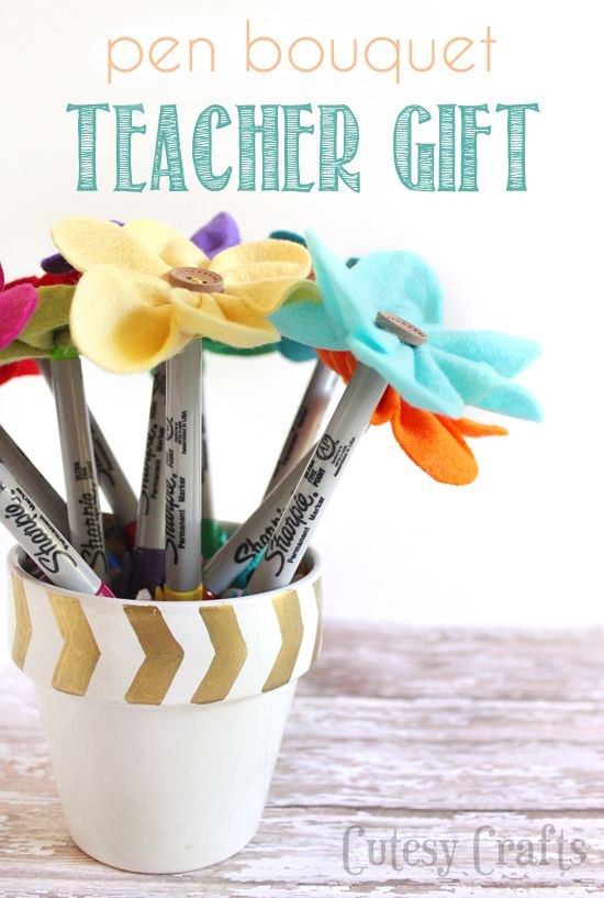 Felt Flower Pen Bouquet - Teacher Gift | DIY\'s | Pinterest | Flower ...