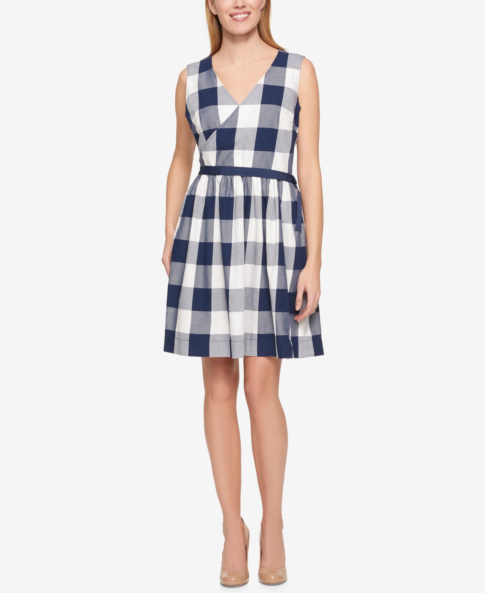 Tommy Hilfiger Cotton Checkered Wrap Dress 3e1d4abca2