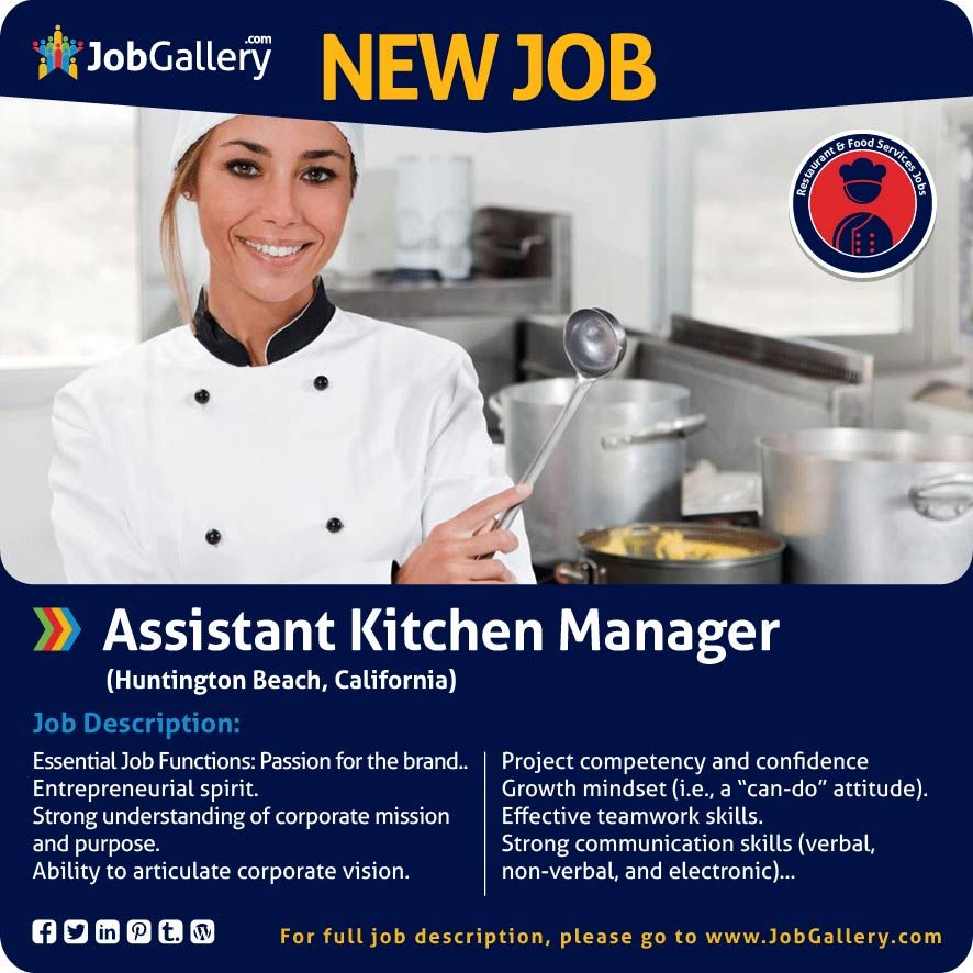 Restaurant Kitchen Manager seeking an assistant kitchen manager - huntington beach, ca #jobs