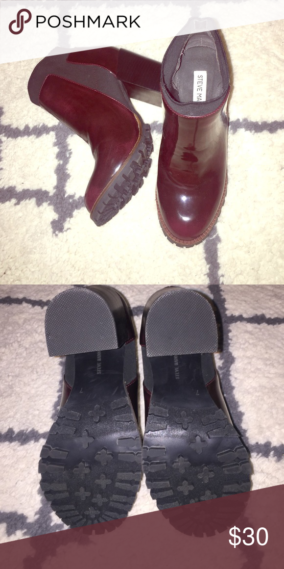 Steve Madden booties Burgundy Steve Madden heels size 7. Worn one time Steve Madden Shoes Heeled Boots
