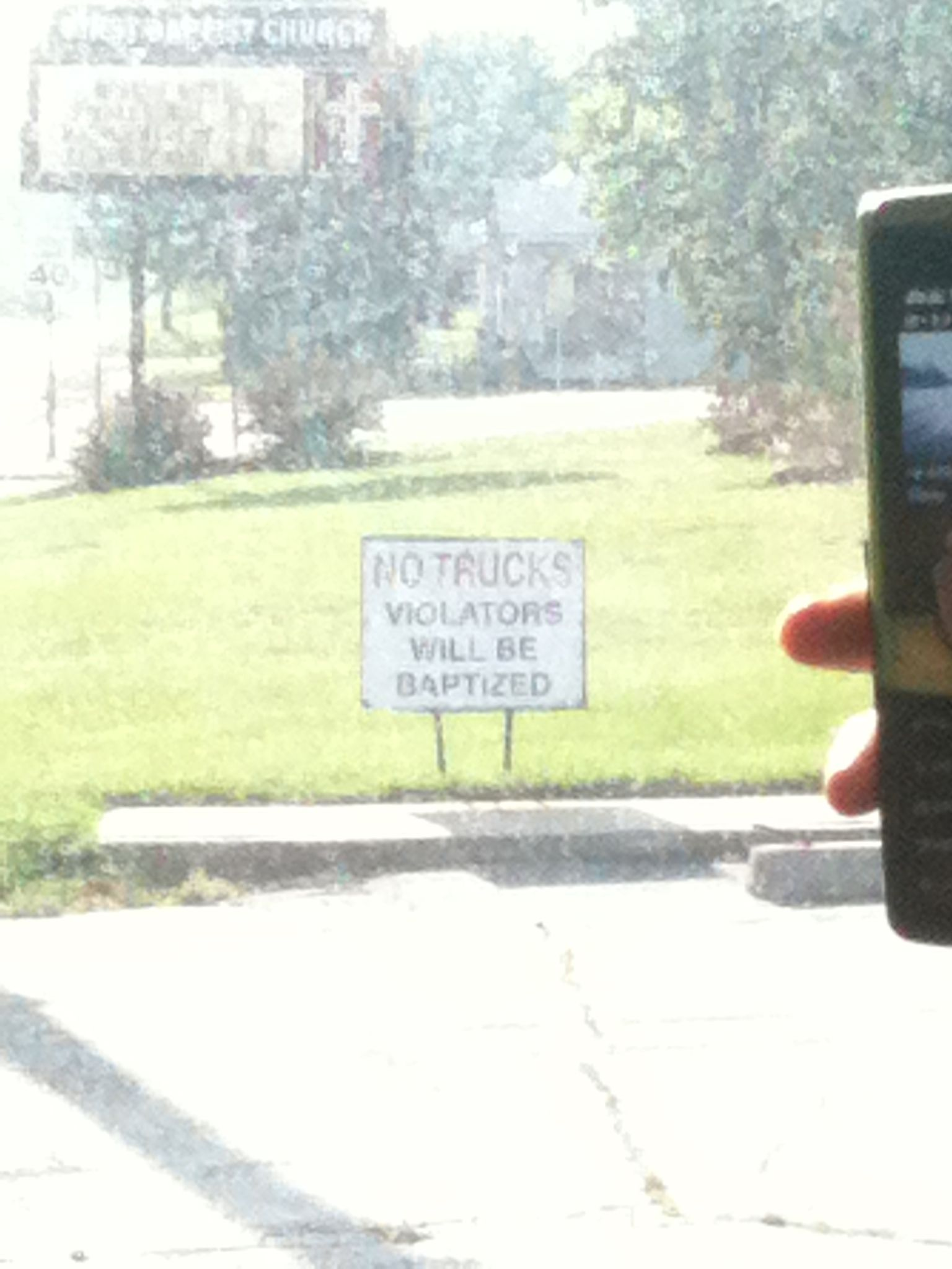 This was in a church's front lawn. I wish I had this sign.