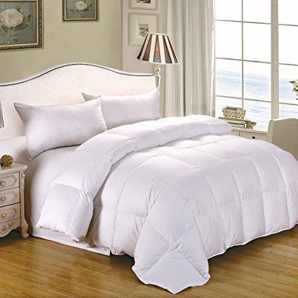 CozyFeather Real Goose Down Comforter Duvet   Cal King Oversize King    Hypoallergenic   100 Percent Cotton 400 Thread Count   750 Fill Power    Solid White