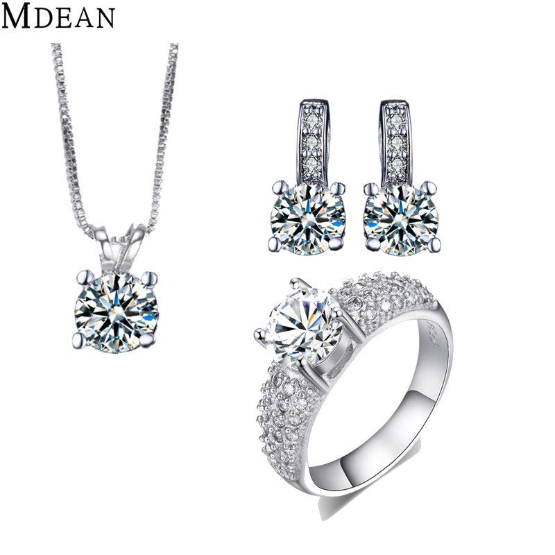Mdean wit goud gevuld bruiloft sieraden sets czdiamond sieraden elegant engagement earring + ring + hanger voor vrouwelijke accessoires