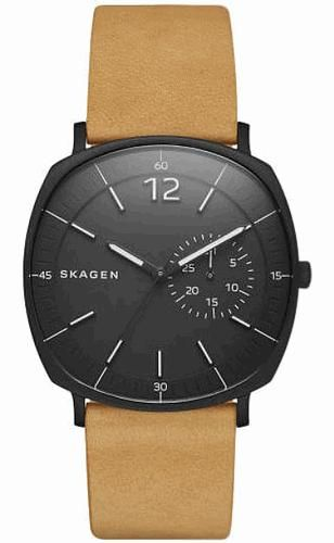 eb7e2ec2dac86 Skagen Stainless steel case Collection  Rungsted Gender  Men Dial  Black  Movement  Quartz Clasp  Buckle Strap or Bracelet  Strap BandColor  Brown  CaseShape  ...