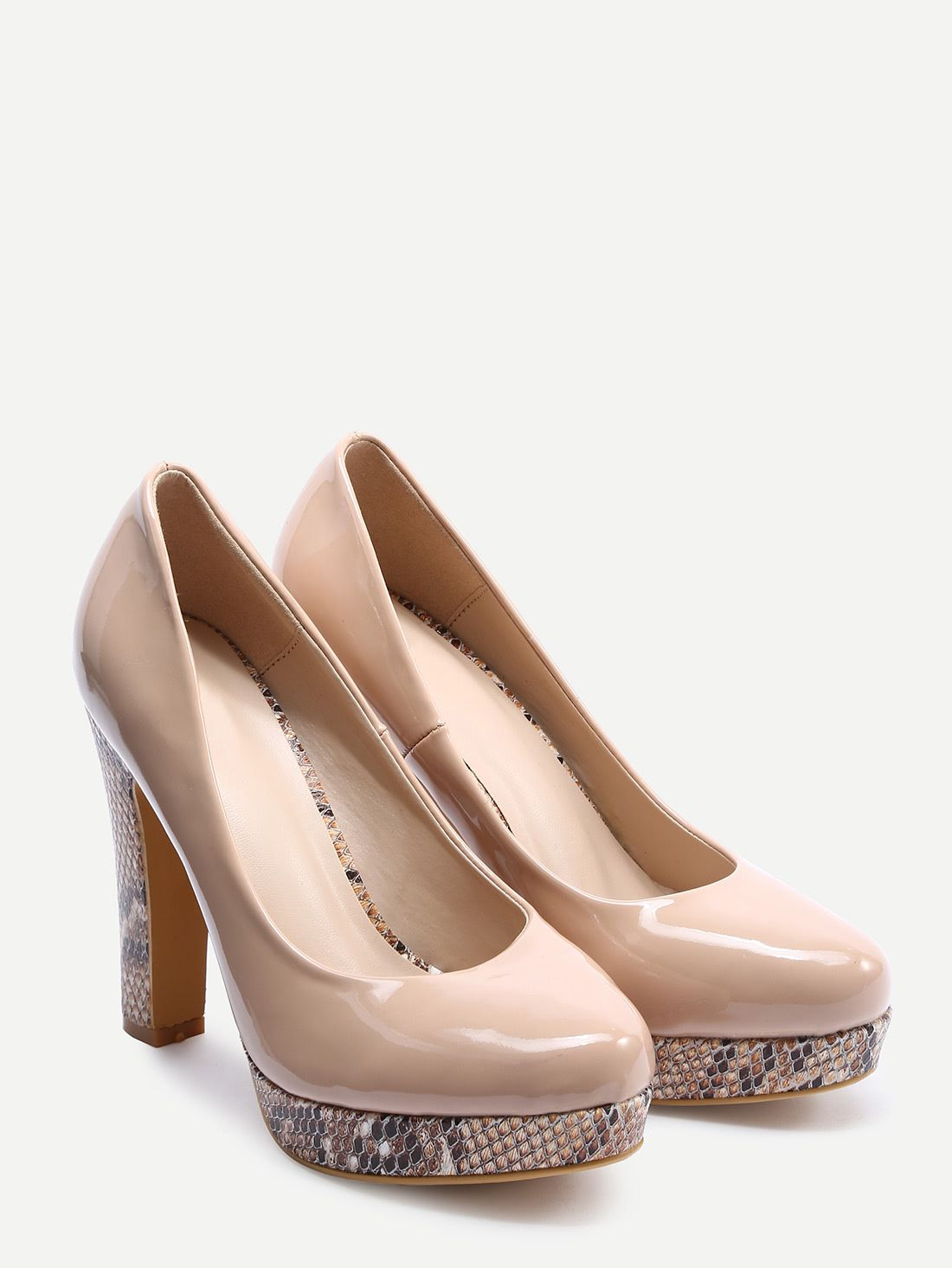 d176c2a6f2b Shop Cream-Colored Thick Heel Platform Pumps online. SheIn offers Cream-Colored  Thick Heel Platform Pumps   more to fit your fashionable needs.