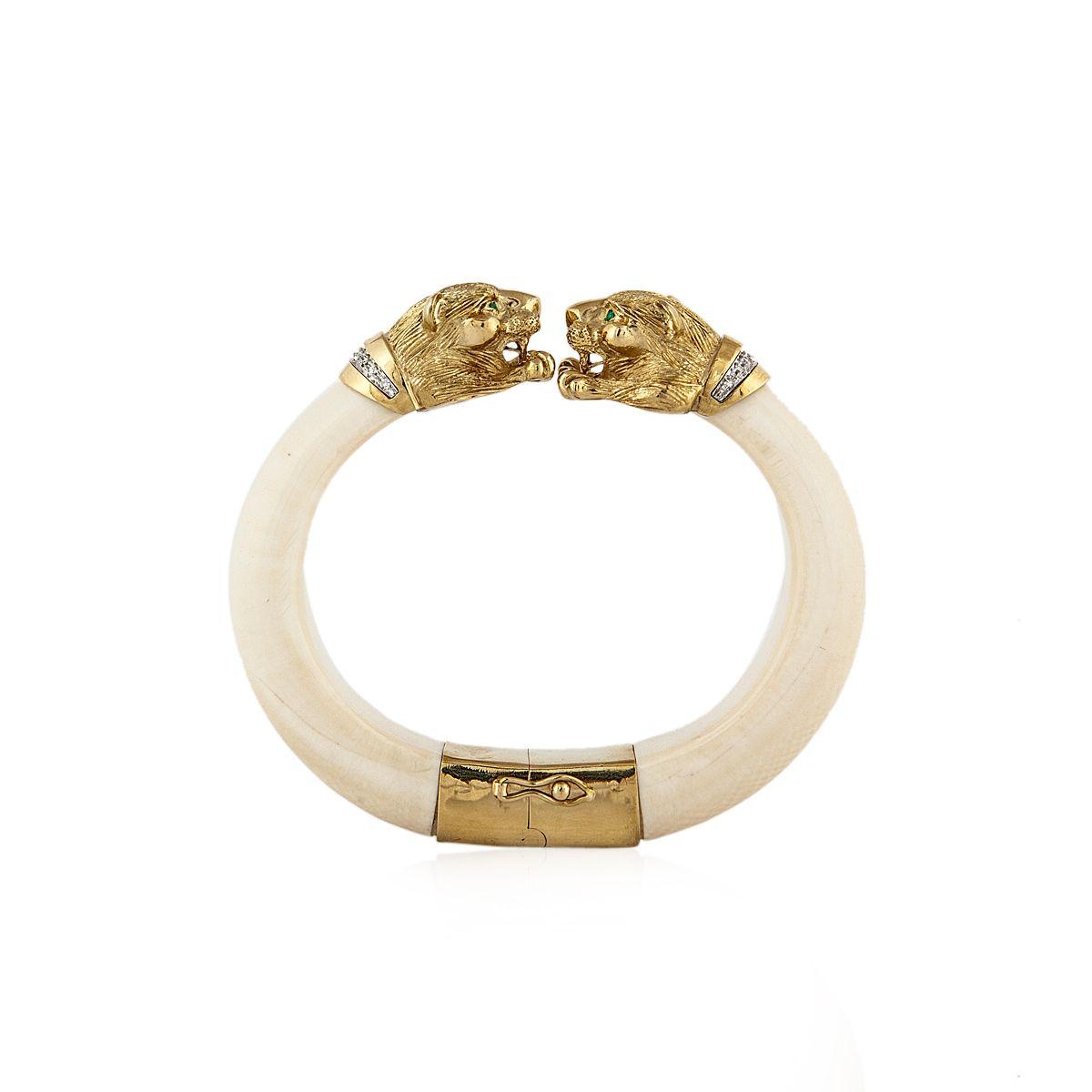Tenenbaum & Co. - Houston, TX Ivory, Diamond, Emerald Lion Cuff $7,900.00