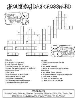 Groundhog Day Crossword Puzzle Groundhog Day Crossword Puzzle Crossword