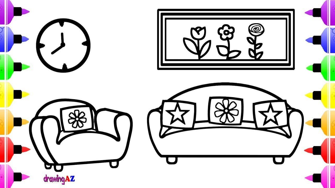 How To Draw 2 Seater Sofa For Kids Coloring Pages For Children Coloring Pages For Kids Coloring For Kids Coloring Pages