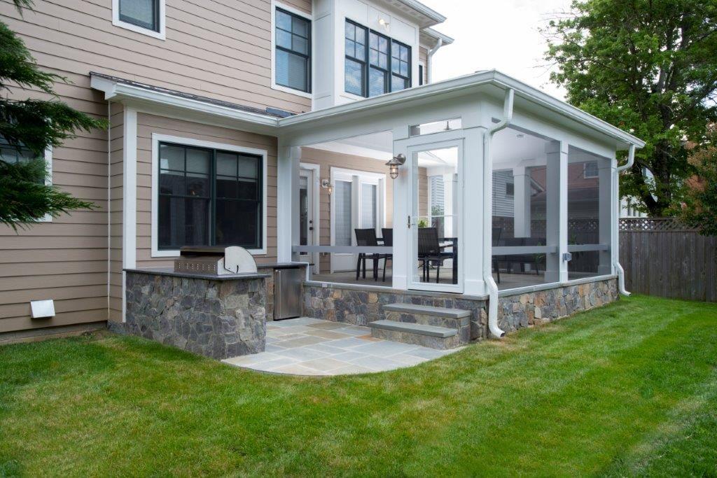 Porch with stone concrete pad.   Screened in patio ... on Concrete Back Porch Ideas id=78063