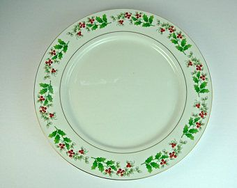 Gibson CHRISTMAS CHARM Dinner Plate, Holly & Berry, Everyday China ...