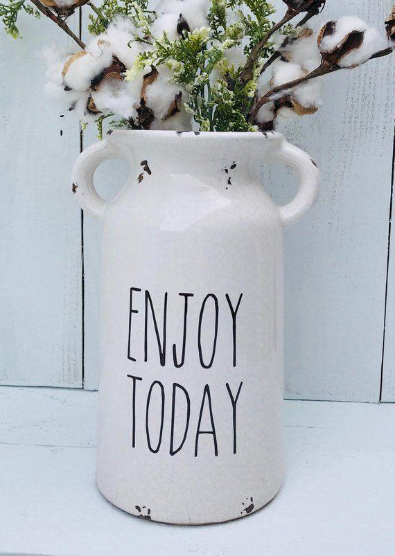 Farm House Milk Jug Mothers Day Gift Ceramic Milk Can Customized Flower Vase Vases