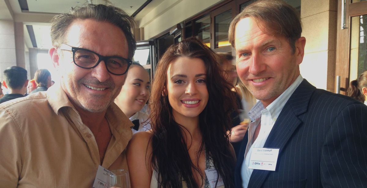 Director Richard Gibson, Actor Demi Alexandria and Sentient - Head of Development David Steinhoff at the 2015 Xmas party