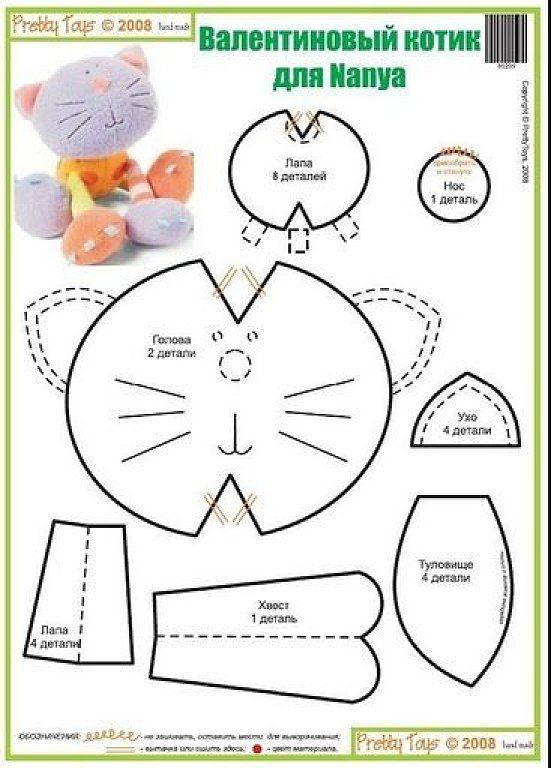 Patrones o moldes para hacer gatos de peluche (El chanchito verde ...