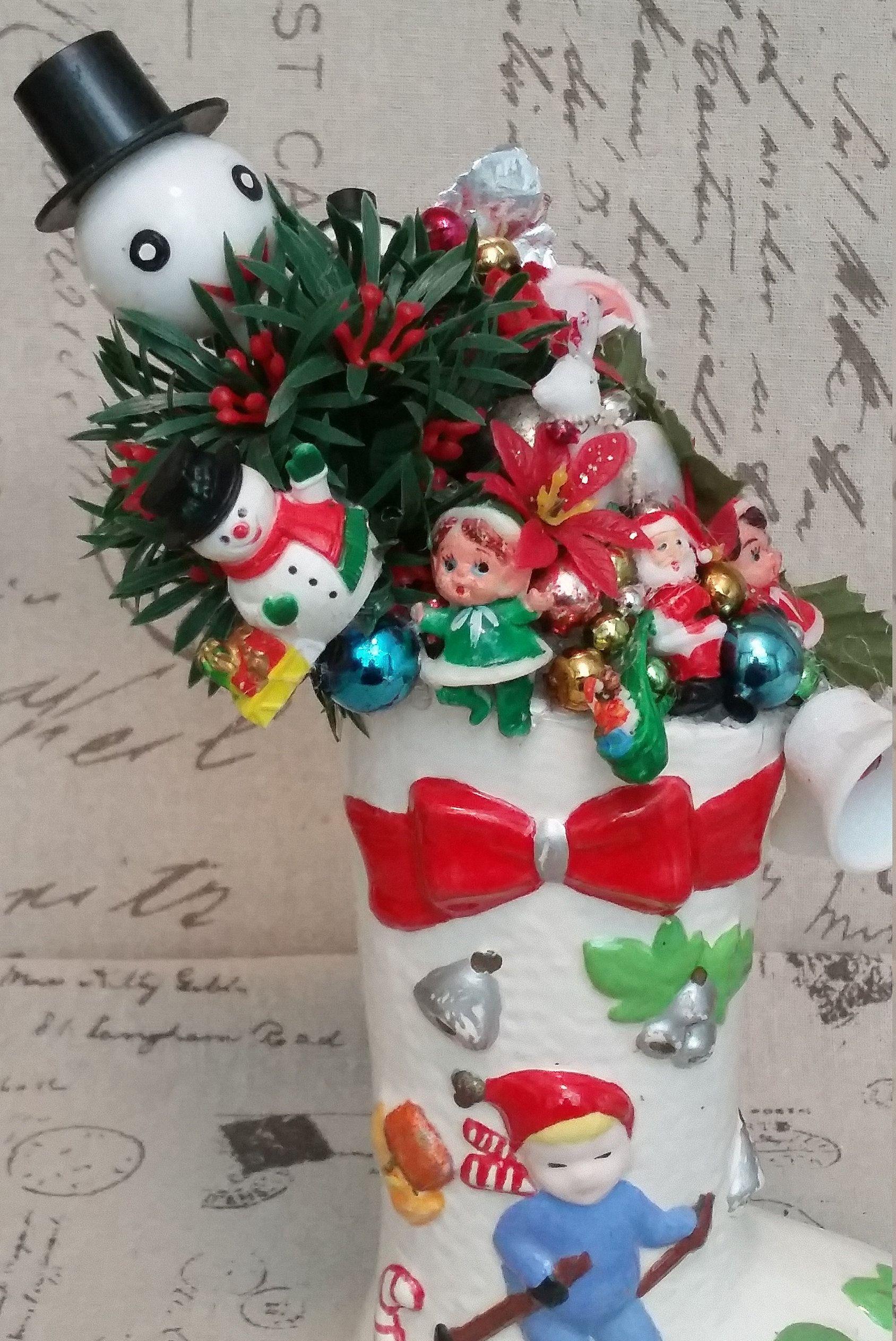 Vintage Santa Boot  Toys, Santa, Bottle Brush Trees,Snowmen, Elfs