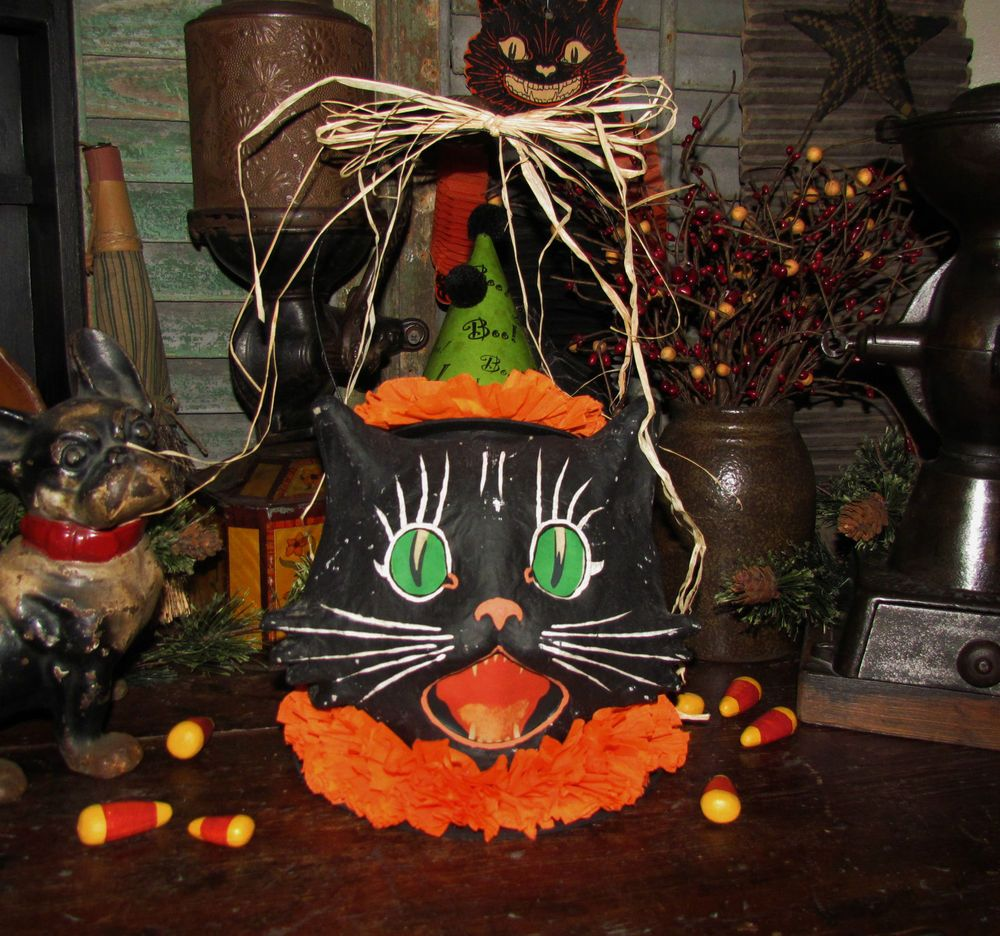 Primitive Vtg Style Dealer Retro Halloween Paper Mache Cat Jack-O-Lantern Bucket #NaivePrimitive