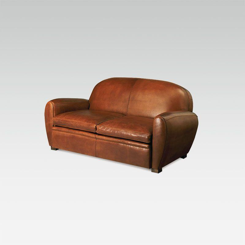 Canapé Club en cuir marron Rond Moyen