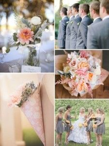Grey And Peach Wedding I Think The Suits Would Be Darker