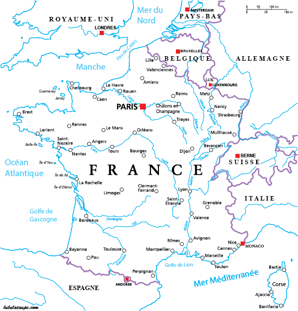 Image result for carte de france villes principales et fleuves | France map, Nice france map ...