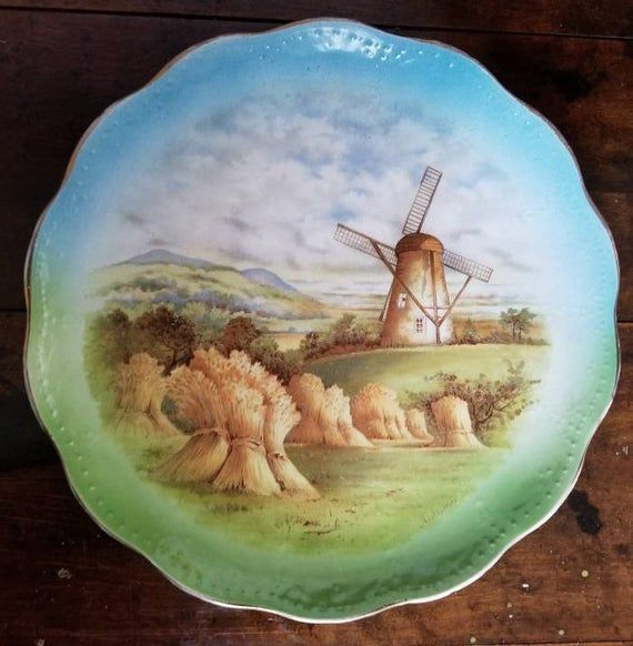 Vintage Dresden China Hand Painted Autumn Scene Plate ~ Windmill Golden Harvest Wheat~ Blue Green Tan Fall Colors Gold Rim Scalloped Edge #autumnscenes Vintage Dresden China Hand Painted Autumn Scene Plate  ~ Windmill Golden Harvest Wheat~ Such a Nice Fall Scene ~This plate can be used for desserts, salad, or display.... There is wear from age and normal use, however, it does display nicely ~  Please look at photos to see wear ~ ~Measures about 9 1/8