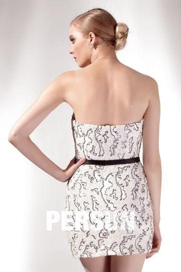 ebf487639 Robe bustier fourreau courte en sequins blanche & noire   Robe ...
