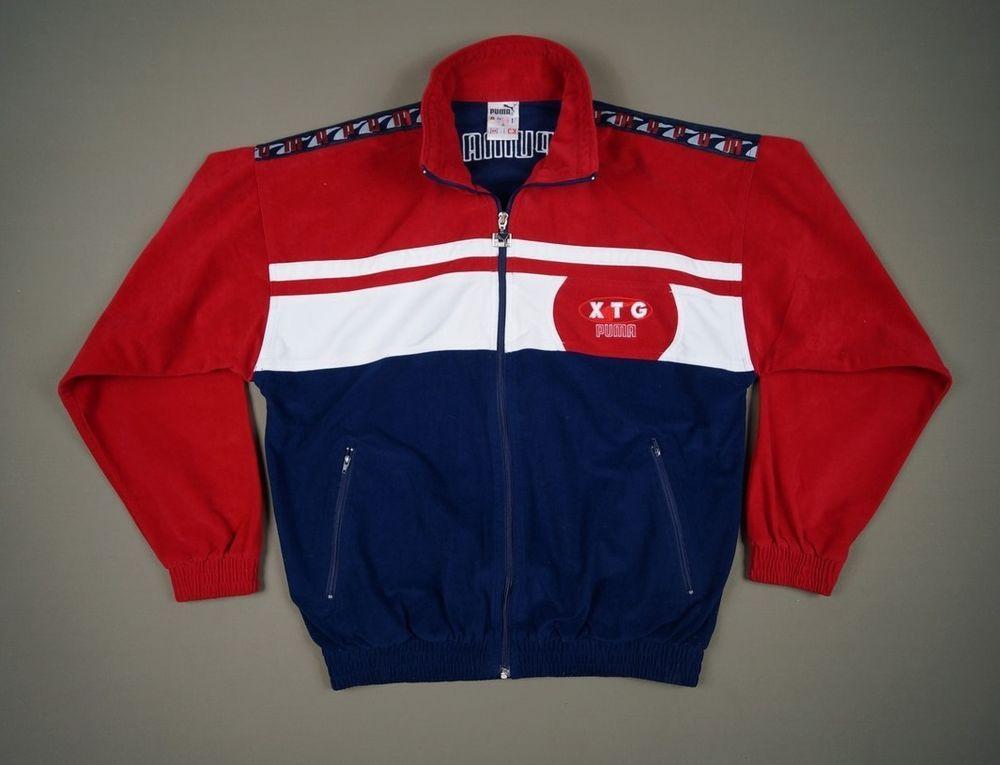 2c5edf1d8 PUMA XTG Vintage Retro Men's Jacket Top Size S Red White Blue | Red ...