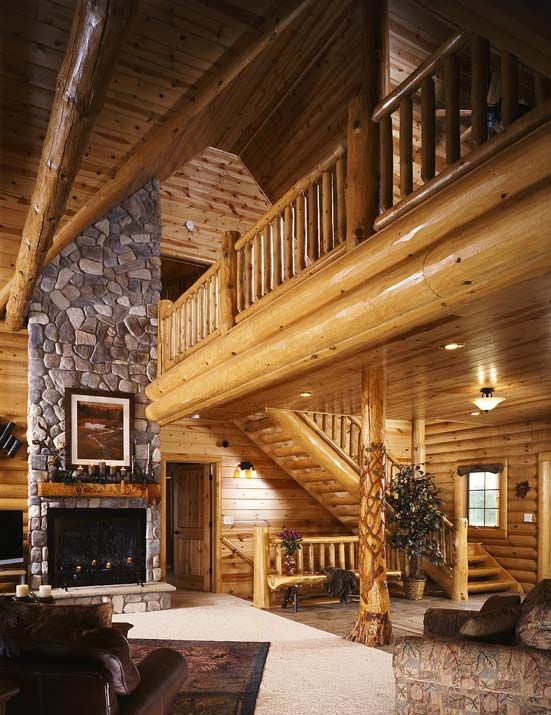 Living Room With Loft Modern Log Cabins Log Home Interiors Log Homes