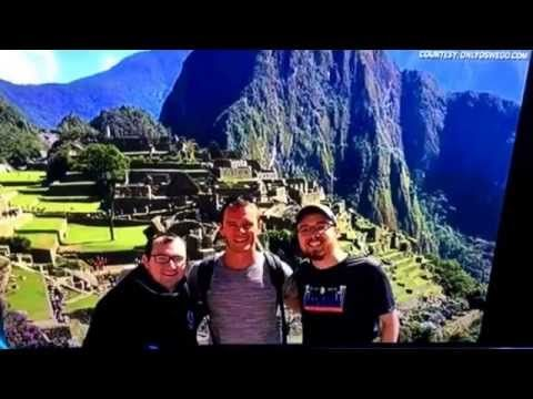 JONATHAN TOEWS IN PERU RUINS OF MACHU PICHU TAKES SELFIE WITH CHICAGO BLACKHAWKS FANS 7/26/15