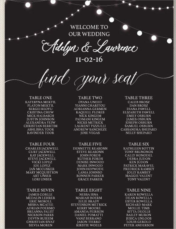 Wedding Seating Chart Template - 16+ Examples in PDF, Word, PSD - free charts templates