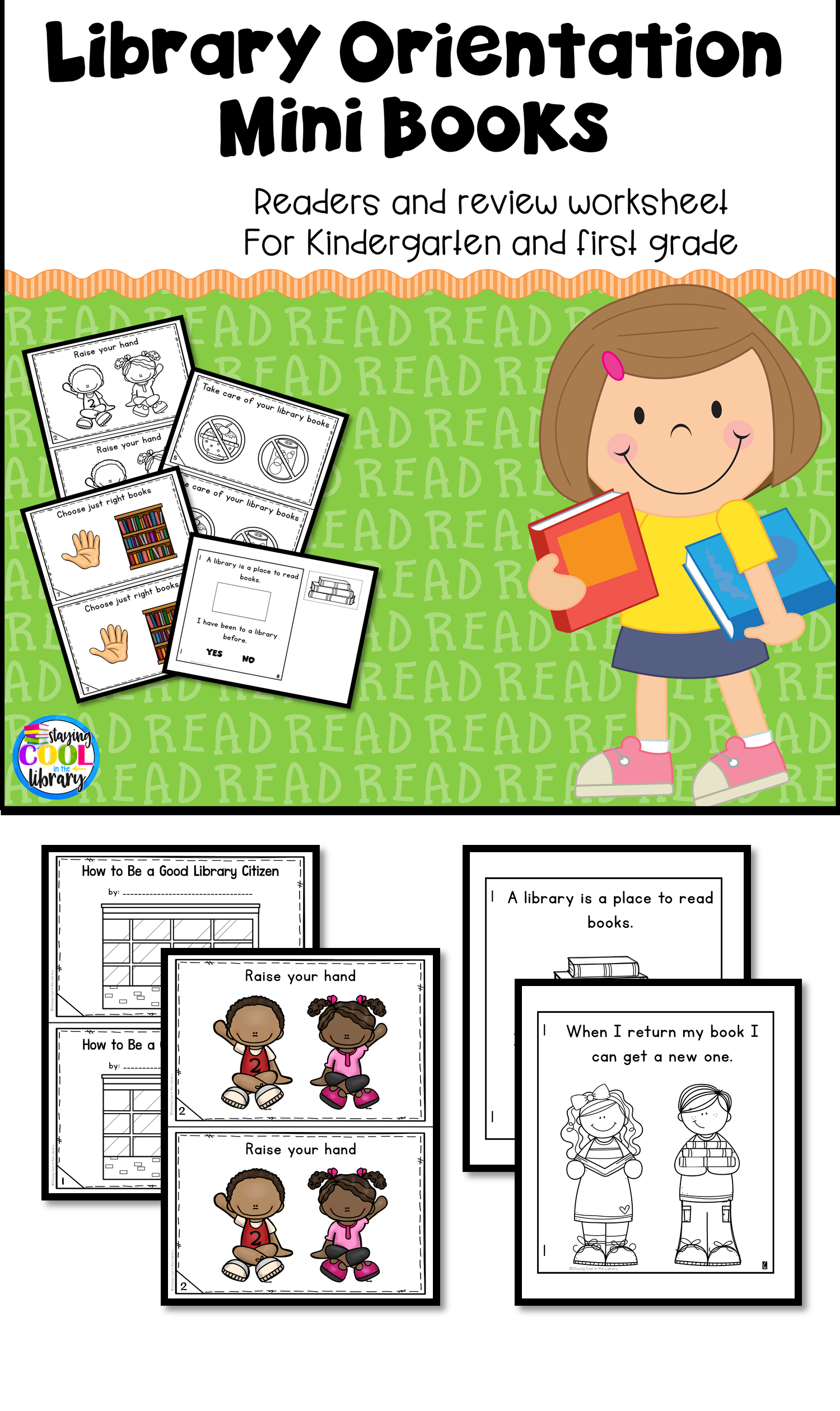 Library Orientation and Rules - Mini Books and Printables | Library ...