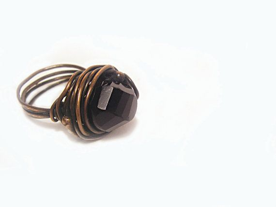 Jet Black Crystal Beaded ring Black ring on Copper Wire by FestiJe, $36.00 #wire #wrapped #ring #jet #black #crystal  #copper #jewelry #jewellery
