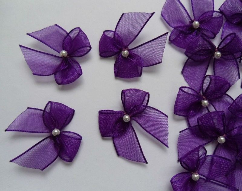 "1"" (W) Purple Organza Ribbon Bows W/ Bead-50 Pcs-Crafts / Appliques-R0120Du"