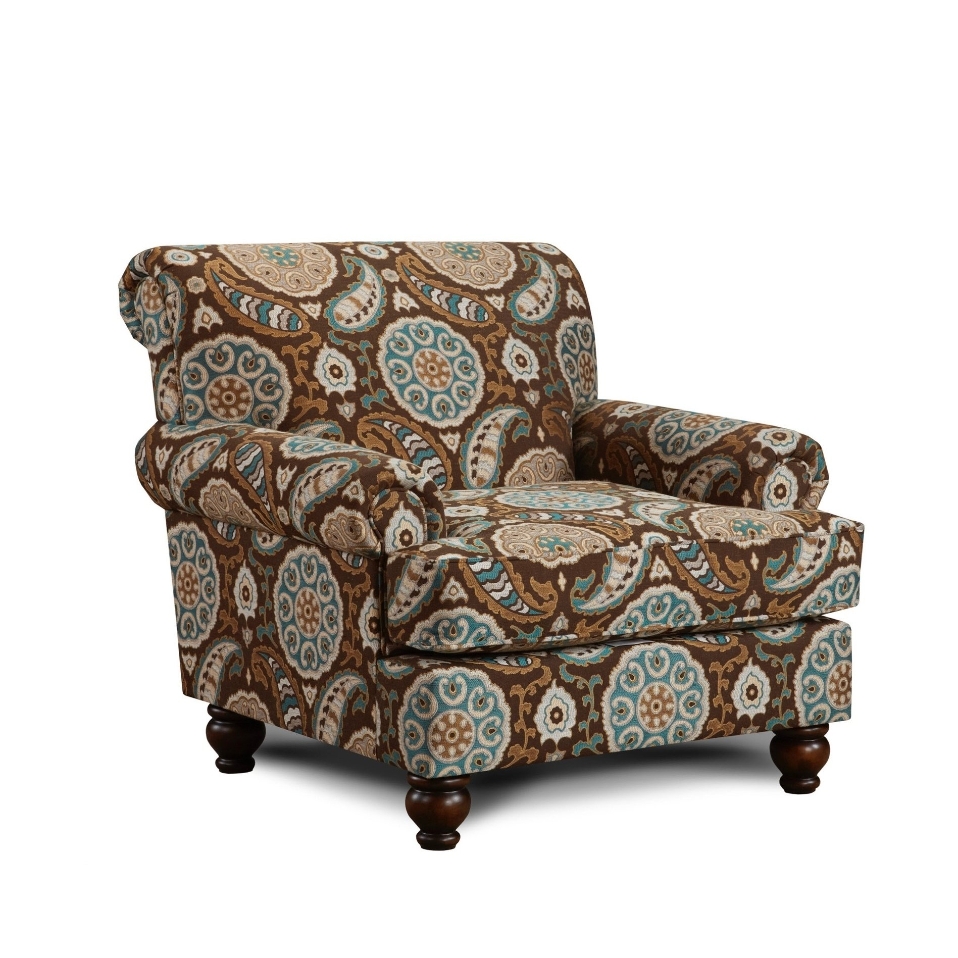 Artisan turquoise accent chair brown polyester accent