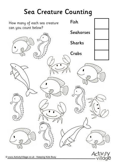 Sea Creature Counting 3 Animal Worksheets Kindergarten Worksheets Water Animals Preschool Ocean worksheets for preschool