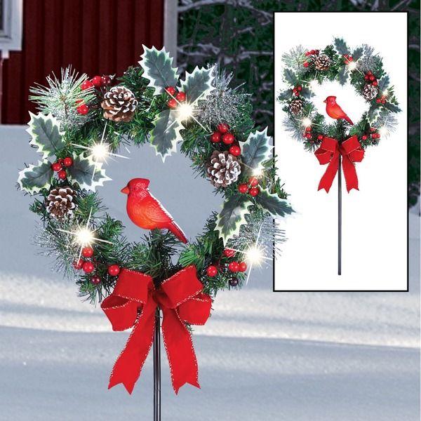 Solar Cardinal Wreath Outdoor Garden Stake 14 95 Usd