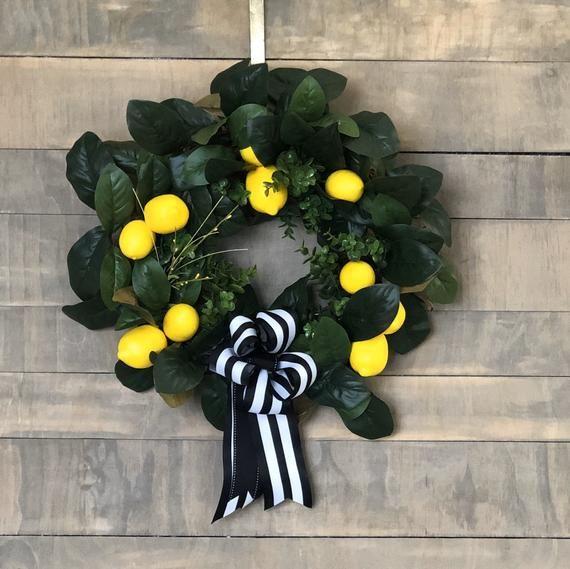 Photo of Yellow frontdoor Spring Wreath, Lemon Wreath, Summer Lemon Wreath, Spring Magnolia Wreath, Yellow Sp