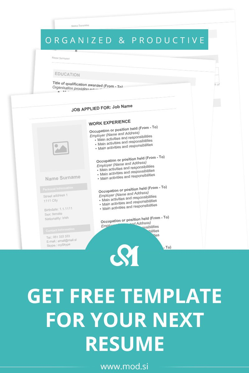 Get Free Template For Your Next Resume Mod Organization